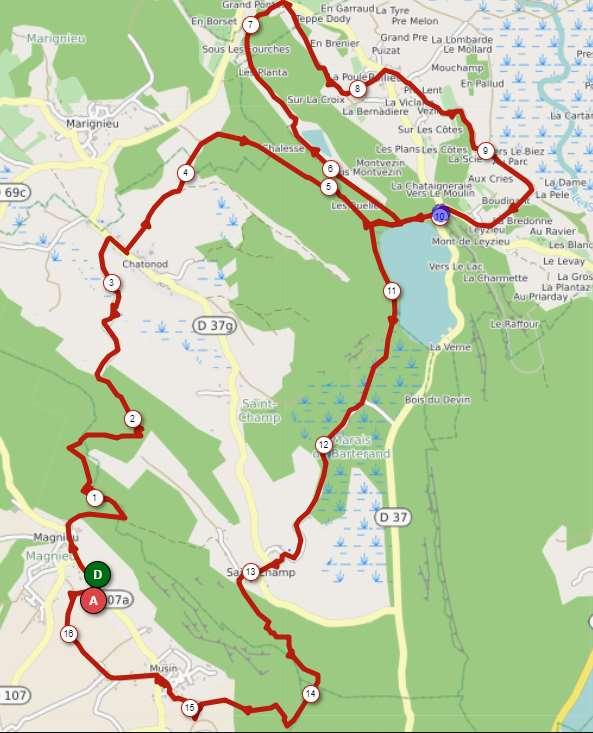 Magnieu parcours 16 km